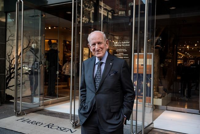 ca4eab3a8de5 Canadian menswear titan Harry Rosen poses for a portrait in front of his  Bloor Street store on Wednesday