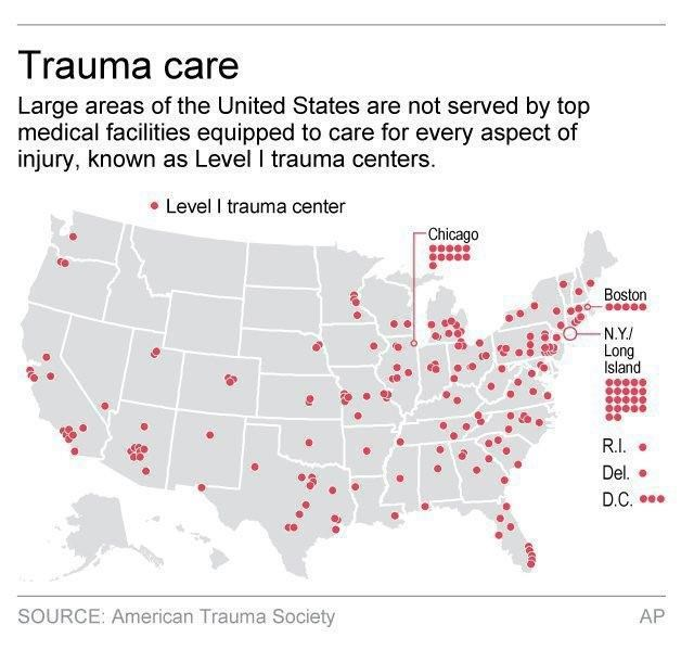 Up to 1 in 5 trauma s could be prevented, study says ... Us Trauma Center Map on us physical therapy map, us pokemon map, us fallout map,