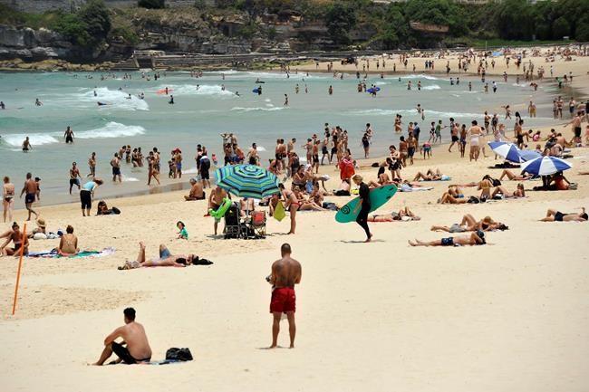 Crowded Bondi Beach In Sydney, Australia.   Travel