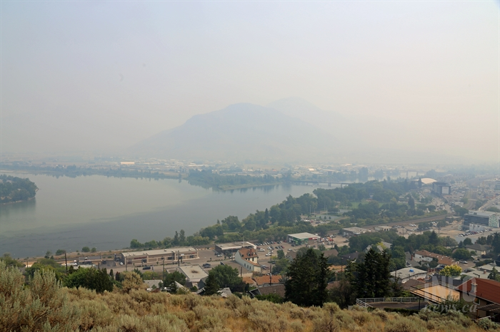 Heavy smoke sits over Kamloops during wildfire season.