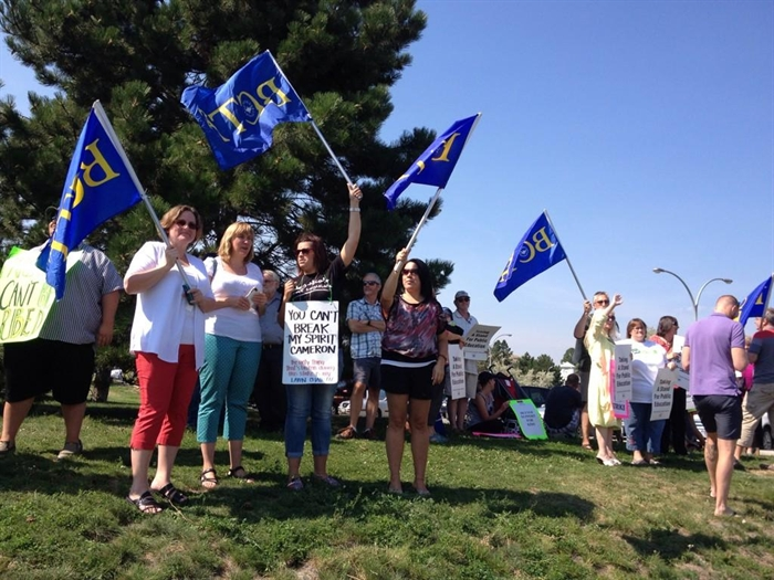 Teachers rally in Kamloops during BCTF conference at Thompson Rivers University on Sunday, Aug. 24, 2014.