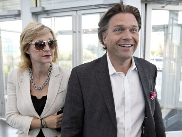 Thomas Lukaszuk and his wife Stacey Brotzel arrive before the results of the Progressive Conservative leadership first ballot in Edmonton on Saturday, Sept. 6, 2014.