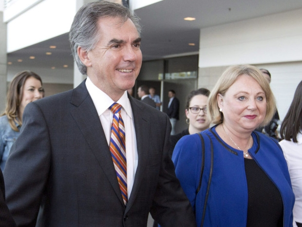 Jim Prentice and his wife Karen arrive before the results of the Progressive Conservative leadership first ballot in Edmonton on Saturday, Sept. 6, 2014.