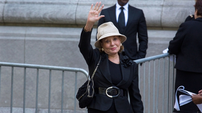 Barbara Walters arrives at a funeral service for comedian Joan Rivers at Temple Emanu-El in New York, Sunday, Sept. 7, 2014.