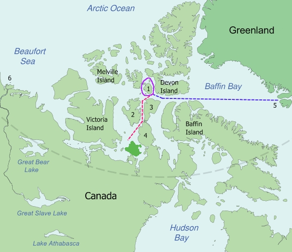 Map of the probable routes taken by HMS Erebus and HMS Terror during Franklin's lost expedition.