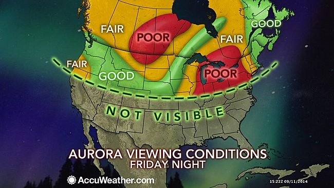 This Accuweather map shows where the northern lights should be visible Friday night.