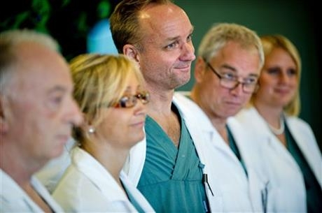 In this Tuesday, Sept. 18, 2012 file photo, from left specialist surgeons Andreas G Tzakis, Pernilla Dahm-Kähler, Mats Brannstrom, Michael Olausson and Liza Johannesson attend a news conference, at Sahlgrenska hospital in Goteborg, Sweden.