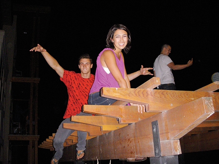 Partygoers on top of the wooden structure in Lower Cascades student residences on the UBC Okanagan campus in Kelowna.