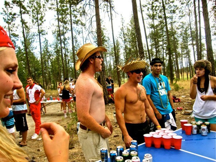 One of the beer pong tournaments held in the woods above the UBC Okanagan Kelowna campus.