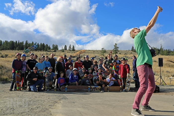 Most of the longboarders in attendance at the Kamloops Longboarding Track grand opening on Saturday, Oct. 18, 2014 stopped for a selfie before hitting the downhill track.