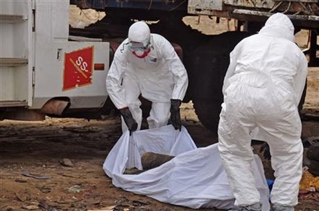 The body of a man found in the street in Monrovia is suspected of dying from the Ebola virus.