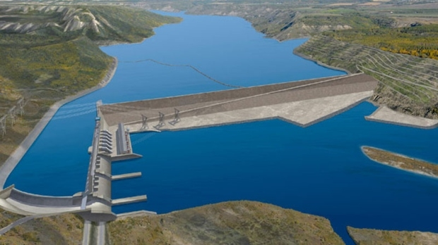 An artists rendering of the proposed Site C dam and hydroelectric generating station on the Peace River.