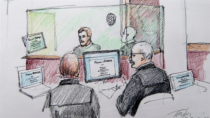 An artist's sketch shows the sentencing hearing for Justin Bourque at Moncton Law Courts in Moncton, N.B. on Monday, Oct. 27, 2014.