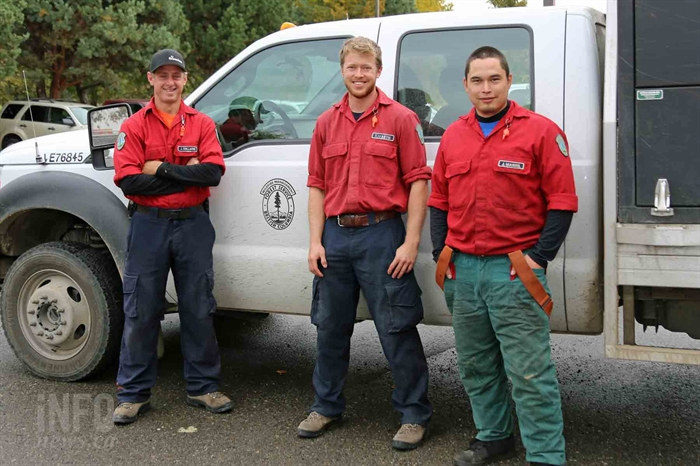 Jarvis Manuel, Thomas Martin and Jon Collavini wear their pride on their sleeves as wildland firefights with B.C. Wildfire.