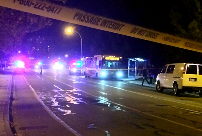 The scene on Baron Road Thursday, Oct. 30, 2014 after a Kelowna man was murdered by a man with a knife on a B.C. Transit bus.
