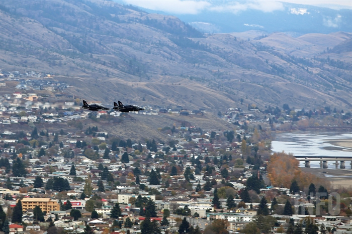 The 419 Squadron out of Cold Lake, Alta. performs a fly past over Kamloops.
