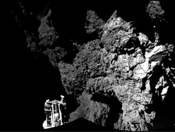 A combination of different images taken by Philae's cameras show the space probe safely on the surface of comet 67P/Churyumov-Gerasimenko on Nov. 12, 2014. One of the lander's three feet can be seen in the foreground.