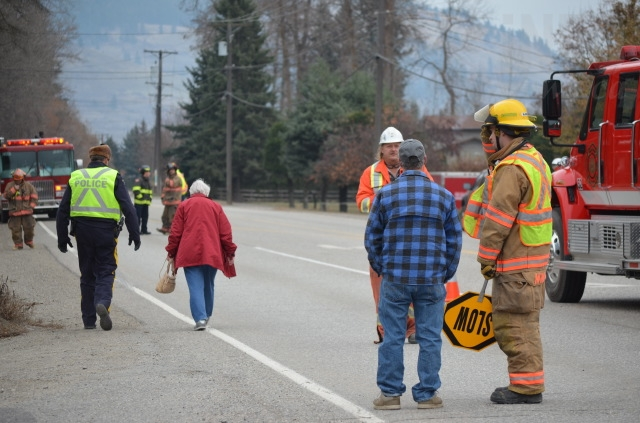 A high pressure gas line was struck by a car Thursday morning, prompting the closure of Highway 6 and evacuation of nearby residents.
