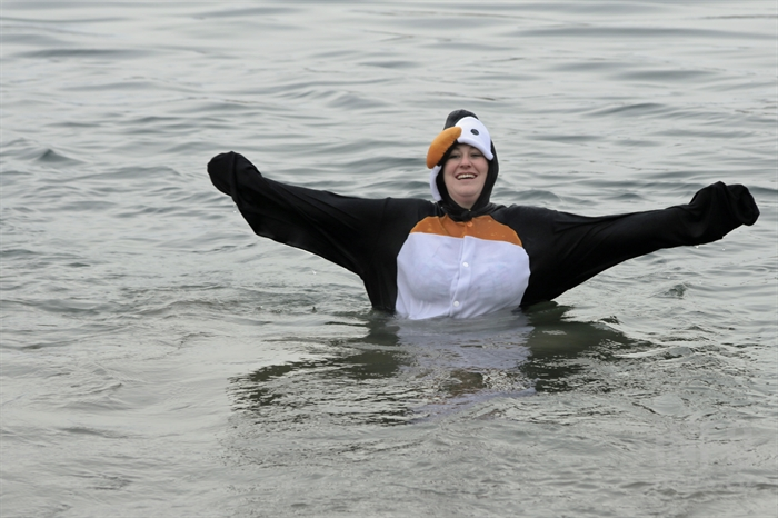 Some came dressed for the occasion at the Kamloops Polar Bear Swim at Riverside Park, Thursday, Jan 1, 2015.
