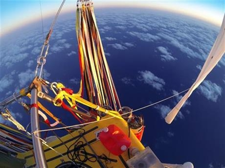 The helium-filled ballloon crosses the Pacific Ocean after taking off from Japan.