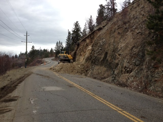 A rock slide has closed Oyama Road in Lake Country until further notice, Friday, Feb. 6, 2015.