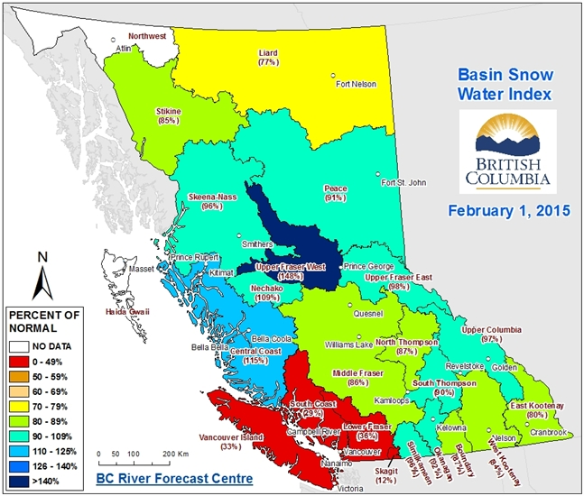 A map from the B.C. River Forecast Centre Snow Survey and Water Supply bulletin issued on Friday, Feb. 06, 2015 shows snowpack levels in the province.