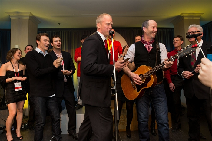 Musical guest Barney Bentall along with John Mann, Geoffrey Kelly and Matthew Harder from the legendary band Spirit of the West performed at the grand finale of the Canadian Culinary Championships, Saturday, Feb. 7, 2015.
