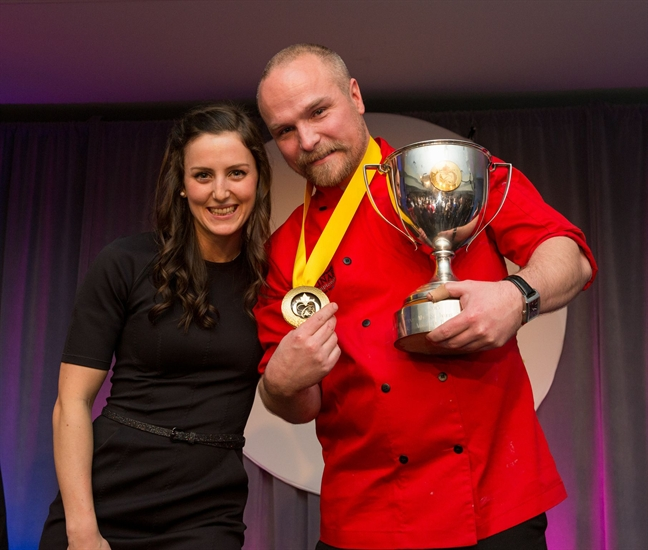 Kelowna Olympic silver medalist in freestyle skiing Kelsey Serwa, left, is pictured with 2015 Canadian Culinary Champion chef Ryan O'Flynn from Edmonton following the grand finale event at the Delta Grand Okanagan in Kelowna, Saturday, Feb. 7, 2015.