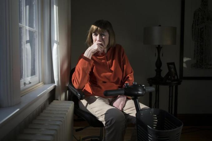 Linda Jarrett is pictured in her home in Kitchener, Ont. , on Tuesday, February 10, 2015. Jarrett, who suffers from multiple sclerosis, is one of the advocates who celebrated, and intends to take advantage of, The Supreme Court's recent ruling that Canadian adults have the right to a doctor's help in dying.