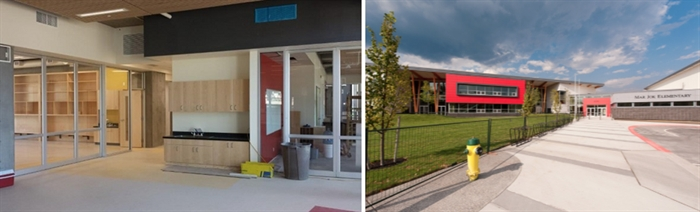 Pictures of the interior and the exterior of the new Jok Mar Elementary School in West Kelowna provided by the Central Okanagan School District.
