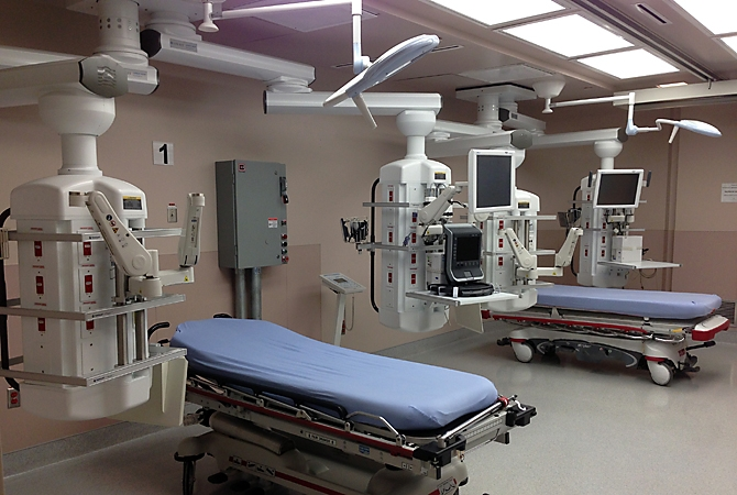 The booms are part of a recently completed renovation to the RIH Emergency Department's trauma room, which has two bays for treating critically ill or trauma patients.