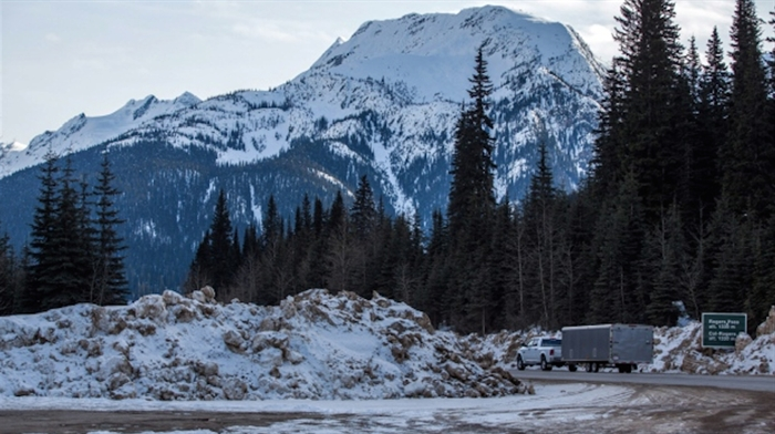Snow banks line the Trans Canada highway at Rogers Pass, on March 4, 2015.