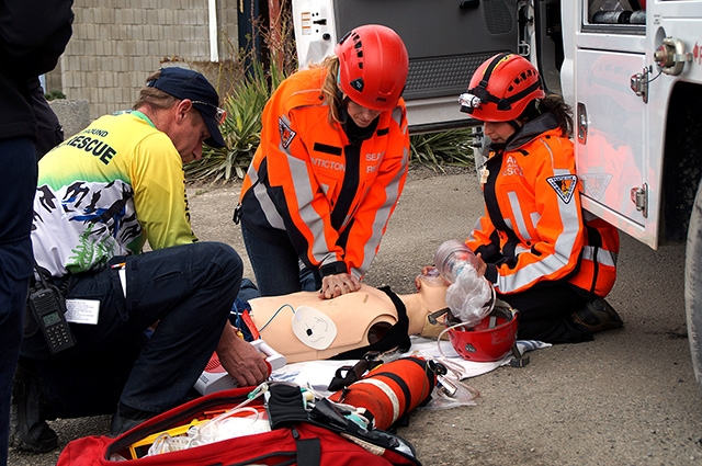 A simulated cardiac event ending in cardiac arrest had members Scott Hare of Princeton SAR, Christy Giles of Penticton SAR and Sil Huber of Penticton SAR treating the patient.