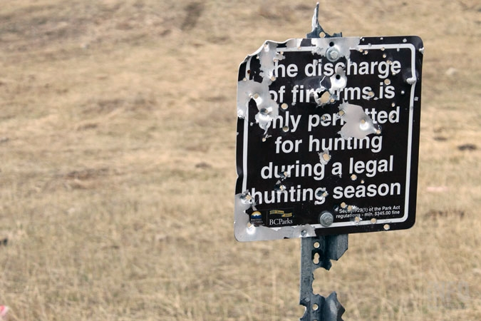 Signs are regularly used for target practice.