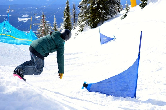 Competitor at the 18th Annual Neil Edgeworth Banked Slalom event held at Big White Ski Resort, March 21-22, 2015.