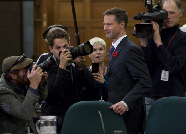 Nigel Wright, chief of staff for Prime Minister Stephen Harper, appears as a witness at the Standing Committee on Access to Information, Privacy and Ethics on Parliament Hill in Ottawa on Nov. 2, 2010. Nigel Wright is among dozens of people who are expected to make an appearance in an Ottawa courtroom over the next several weeks as suspended senator Mike Duffy stands trial on charges of fraud, breach of trust, and bribery.