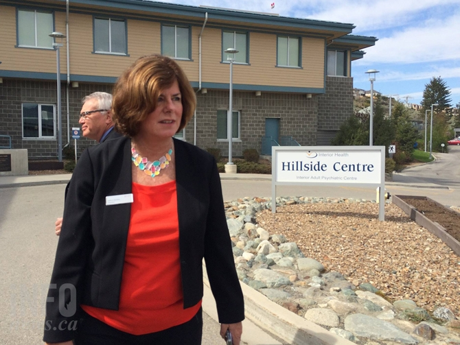 B.C. Nurses' Union President Gayle Duteil outside Hillside Centre Friday, April 17.