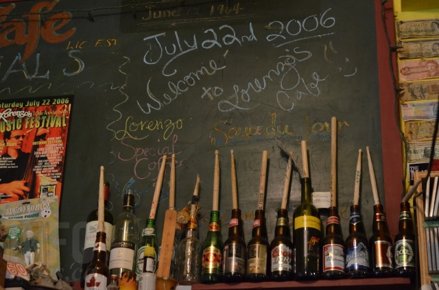 The decor at Lorenzo's is made up of the current art show, past concert posters, broken drum sticks, and relics of the old schoolhouse, like this blackboard (the date still features July 22, 2006, when Lorne held a ten year anniversary music festival.)