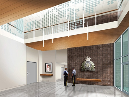 Artist's rendering of the interior of the new Kelowna Police Services building.