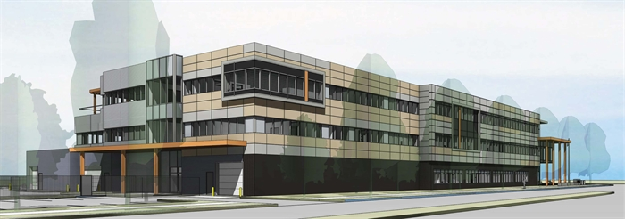 Artist's rendering of the exterior view of the new Kelowna Police Service Building.