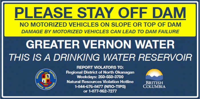 Watch for these signs around North Okanagan reservoirs.