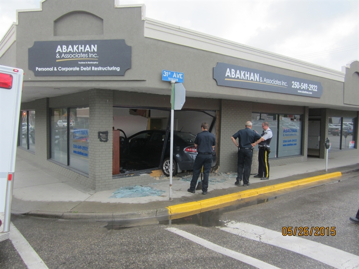 A vehicle crashed into a business in downtown Vernon Tuesday, May 26, 2015.
