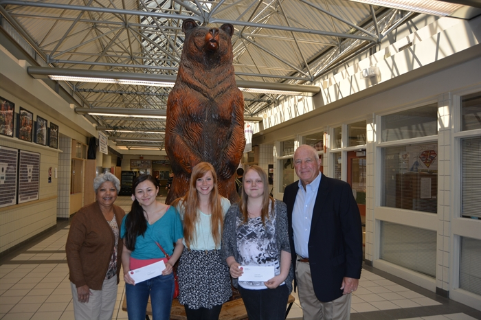 Pictured in this contributed photo, left to right, Yasmin Thorpe, Breanne Pitts, Corrie Knapp, Courtney Korabek, and Rick Thorpe at Mount Boucherie Secondary School.
