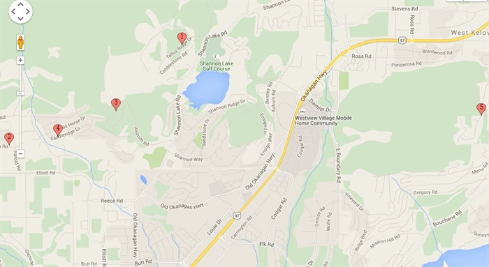 A map of showing where in West Kelowna the five mailboxes were broken into.
