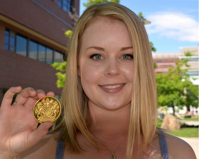 Caitlyn Makins, PhD graduate in biochemistry and molecular biology, is UBC's Okanagan campus Governor General's Gold Medal award as top undergraduate student.