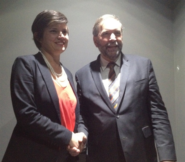 Kelowna-Lake Country NDP candidate Norah Bowman is pictured with party leader Tom Mulcair in this contributed photo.