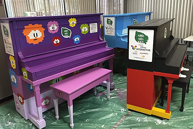 Artists from Kelowna's Disney Interactive helped paint the pianos.