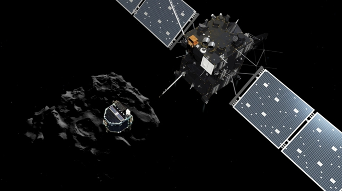 The image released by the European Space Agency ESA on Nov. 12, 2014 shows an artist's rendering depicting lander Philae separating from the Rosetta mother spaceship and descending to the surface of comet 67P/Churyumov-Gerasimenko.