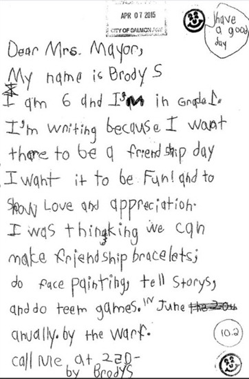 This is the letter Hillcrest Elementary School student Brody S. wrote to the mayor of Salmon Arm.
