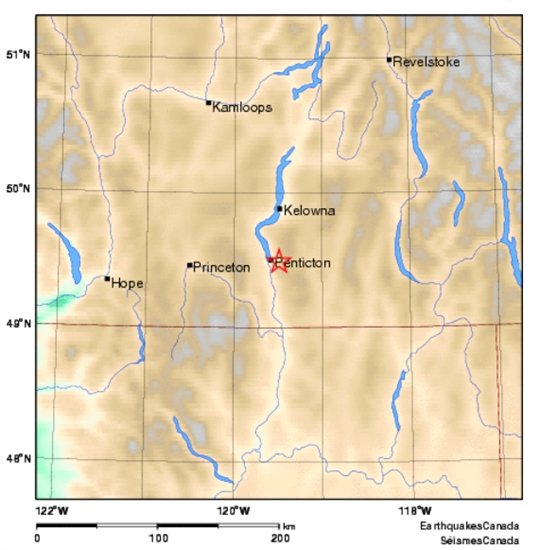 Approximate location of an earthquake lightly felt in Penticton and Naramata, Thursday, June 18, 2015.
